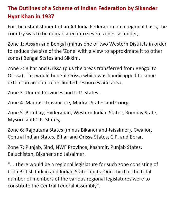 outlines of Sir Sikander Hyat's scheme of Federation