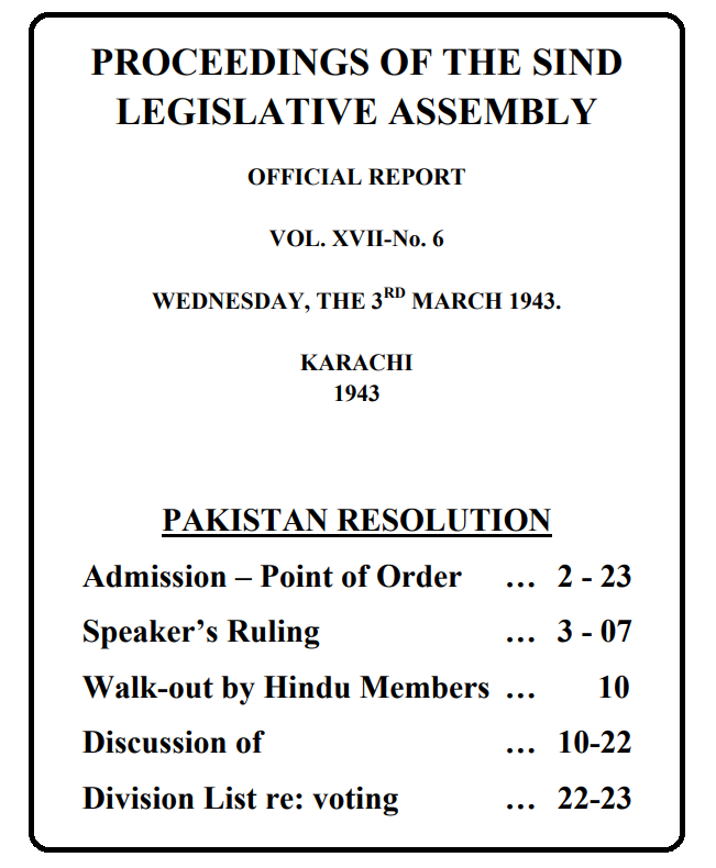 Pakistan Resolution Passed by Sindh Assembly